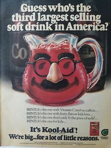 1986 Cherry Kool-Aid pitcher mustache nose glasses vintage soft drink ad