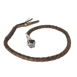 """Get Back Whip Brown Two Tone 42"""" Biker Motorcycle Leather Whip SS Clasp 18-11"""