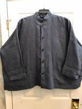 Eskandar Size 1 1x 2x 3x Blue Cross Dyed Oversized Linen BoxyTop Jacket