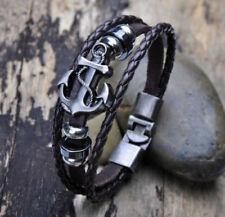 Unisex Cool Bracelet Men Leather Belt Boat Anchor Wristband Bangle Fashion