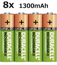 8x Original Duracell AKKU Ni-Mh AA 1,2V 1300mAh Rechargeable Aufladbar Lose NEU
