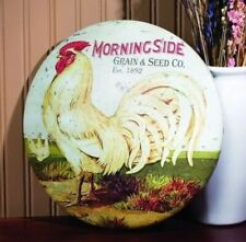 Rooster Grain&Seed Feed Round Dome Metal Button Sign Primitive/Rustic Farm Decor