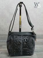 Made in Italy Damentasche Schultertasche  Alligator Stamp echt Leder Grau 726G