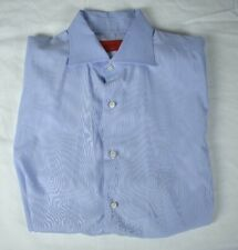 Isaia Solid Light Blue Spread Collar Slim Fit Dress Shirt Men's Size: 16/34.5