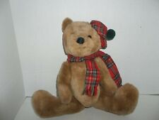 vintage 1984 dakin scottish brown jointed tedy bear plush with plaid hat scarf