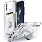 For Motorola Moto G Fast Case Silm Clear Cover with Card Holder and Ring Stand