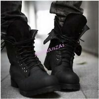 Mens Black Lace Up Retro Combat Military High Top Boots Casual Shoes Classic Hot