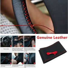 Durable Genuine Leather Styling DIY Auto Black Steering Wheel Cover With Thread