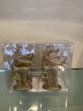 Pottery Barn Gilded Reindeer Set 4 Place Card Holders Merry Reindeer Christmas