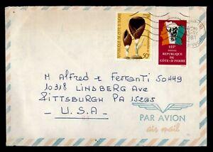 DR WHO 1981 IVORY COAST ABIDJAN AIRMAIL TO USA  f99536