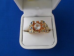 Mans Ring ESPO Joseph Esposito Nugget Clear Stone Size 12.5 Gold Electroplate
