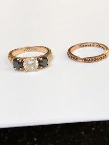 BLACK & WHITE 1.36ct DIAMOND ENGAGEMET RING WEDDING BAND SETS 14K ROSE GOLD