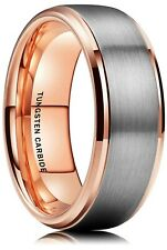 8MM Rose Gold Plated Two Tone Tungsten Ring Unisex Wedding Engagement Band