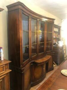 Large Baker Furniture  Bookcase Display Cabinet Bowfront Base Desk Center