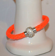 Mens Womens Leather Bracelet Bangle Silver Magnetic Rhinestone Free Gift Bag 84