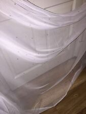 "25 MTR ROLL OF SOFT WHITE TULLE STUDDED BRIDAL/DECORATION NET FABRIC..45"" WIDE"