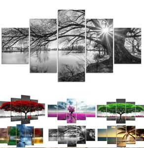 5 Piece/Set Tree Print Canvas Printing Picture Wall Hanging Art Home Room Decor