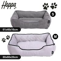 Hoppa Soft Comfy Dog Cat Pet Bed Basket Machine Washable Non Slip Grey Brown