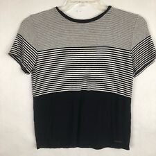 Abercrombie & Fitch Essentials Stripe T-shirt size Small Ringer Crew neck Black