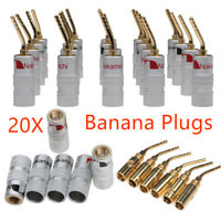 20x 2mm 24K Gold Plated Nakamichi Banana Audio Speaker Plug Connector Adapter EB