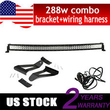 "50"" 288w Curved LED Light Bar + Wiring Kit + Jeep XJ Cherokee Mounting Brackets"