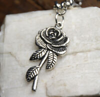 """Silver Rhodium Chain 18"""" Necklace Rose 3D 2"""" long Pendant Flower pewter Roses"""