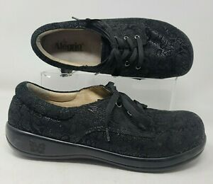 Alegria Kim Oxford Womens Size 11.5 Black Lace Up Floral Comfort Shoes