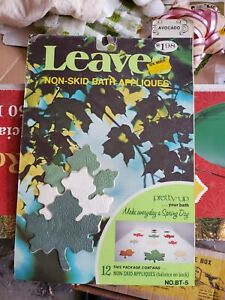 VINTAGE 70s PACK OF NON-SKID BATH APPLIQUES LEAVES AVOCADO NOS