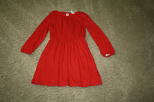 NWT GAP KIDS GIRLS RED LONG SLEEVE DRESS W/GOLD POLKA DOTS FULLY LINED - SIZE XL