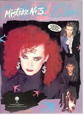 CULTURE CLUB MISTAKE NO. 3 SHEET MUSIC-BOY GEORGE-PIANO/V/GUITAR/CHORDS-1984-NEW
