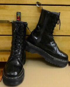 Dr Martens, Black Jadon Raibow Patent Platform Men Shoes, Size UK 8 EU 42