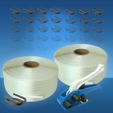 25 mm Umreifungsset gewebt HD, Holzbündelgerät, 2 x 400 m Band, 250 Drahtklemmen