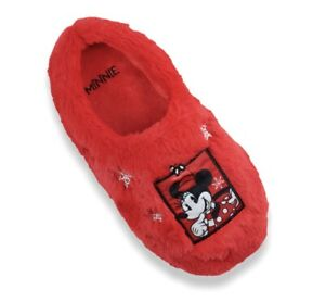 Disney Minnie Mouse 13/1 Christmas Faux Fur Red Clog Slippers Girls