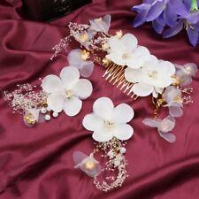 3pcs Hair Clip Comb Wedding Bride Flower Handmade Women Jewelry Hairpins White