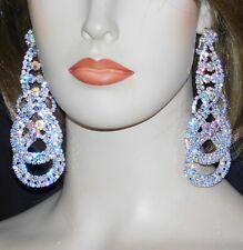 Rhinestone Crystal Clip Earrings /264 Bridal Silver W. Ab Iridescent