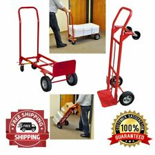 Hand Cart Truck Push Trolley Luggage Warehouse Moving Convertible 2-In-1 600 Lb