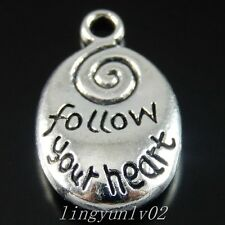 Antique Silver Alloy Follow Your Heart Pendants Charms Findings Craft 15x 50397