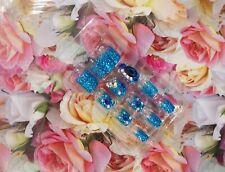 24 Hand Painted boxed square diamante blue  false nails/Gel polish/manicure