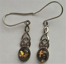 Sterling Silver Green Amber Drop Dangle Earrings