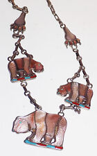 Vtg American Sterling Silver Turquoise+Red Coral Grizzley Bear Necklace