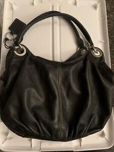 Extra-Large Black Leather ELLINGTON Designer Satchel Bag Purse