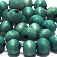 Set di 100 perline rotonde in legno 8mm Verde Turchese