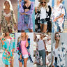 Women Boho Floral Loose Shawl Kimono Cardigan Tops Chiffon Coat Blouse Cover Up