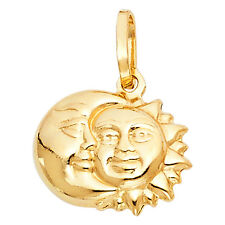 Solid 14K Gold Yellow Sun Moon Crescent Charm Pendant