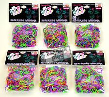 Loom Bands Refill 6 Pack Two Tone Rainbow Colors Rubber 1800 Pieces + 72 S Clips
