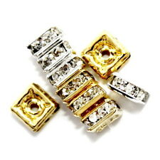 RHINESTONE CRYSTAL SQUARE JEWELRY SPACER BEAD 4MM 24 BEADS GOLD COLOR RC11