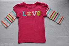 """NWT CARTERS GIRLS 3 MONTHS LONG SLEEVE COTTON TOP SHIRT """"LOVE"""" ON IT"""