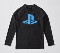 Boys size 8 Sony PLAYSTATION black Long sleeve rash vest top rashie  NEW UPF50 +