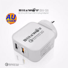 AU BlitzWolf QC3.0+24A 30W Dual USB Adapter Charger AU Plug For Samsung Iphone