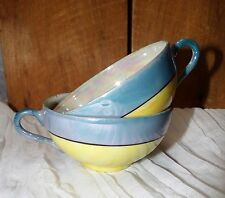Vintage Pair of 1920's Large Tea Cups Yellow & Blue Luster & Pearl Iridescense